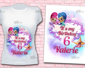 Shimmer and Shine iron on transfer - DIY Genies birthday t-shirt- Digital file for download