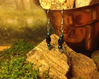 Dark Blue and Black Crystal Beaded Dangle Earrings