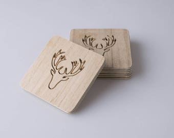 Deer Head, Deer, Drink Coasters, Wedding Coasters, Beverage Coasters, Coasters, Wooden Coaster, Wedding Gifts, Birthday Gift