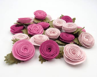 Paper Flowers. Pink Flowers. Artificial Flowers. Crafting. Scrap Booking. Card Making. Flower Applique .