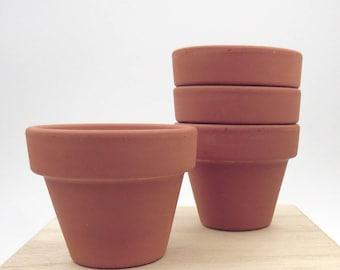 Mini Clay Flower Pots. Terra Cotta Flower Pots. Set of 4