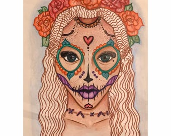 Colorful Lady Skull Design