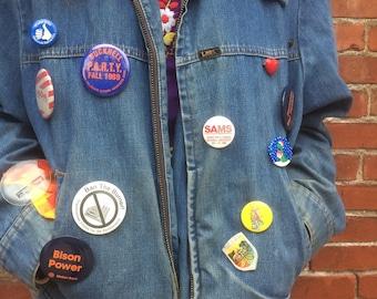Vintage Lee Denim Jacket with Vintage Pins