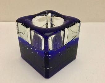 Paperweight Blue Bubbled Glass Votive Holder
