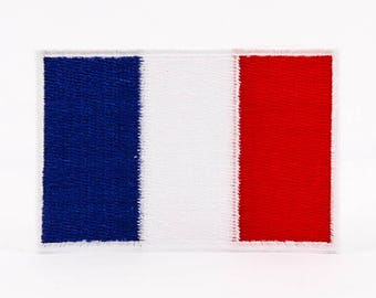 "Iron On Patch France Flag Patch for Jackets Military and Boy Scout Style Patch for Sleeve Sew On or Iron On - 2""x3"" I1038"