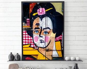 Geisha Street Art Print, Street Art Photography, Geisha Wall Art, Street Art, Geisha Poster, Geisha Prints, Modern, Printable Art