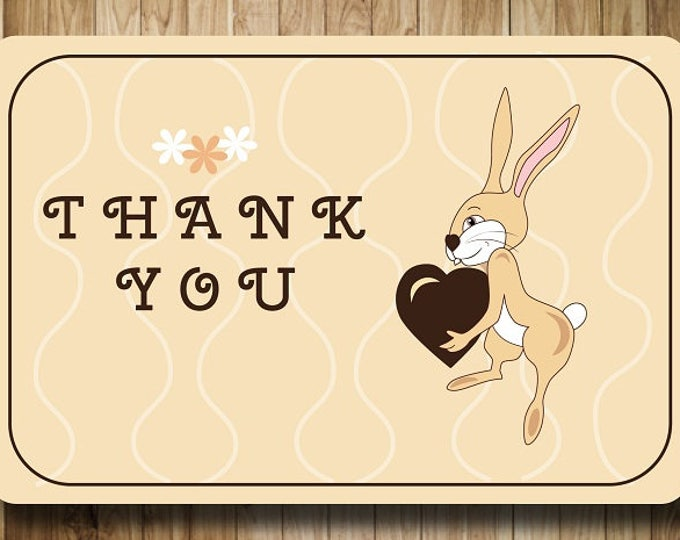 Printable gifts. Card Digital Thank you card. Bunny with heart