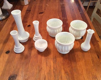 Vintage Milk Glass Randel Planters and Vases.  Great centerpiece Wedding Set