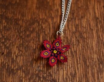 mandala type snowflake necklace