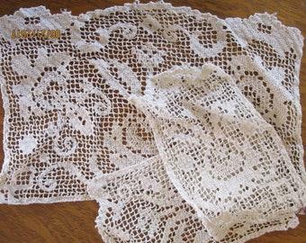 Antique 3-piece Crocheted Headrest and Arm Rest Doilies