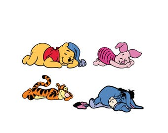 Set of 4 Sleeping Winnie the Pooh and Friends Die cuts, Pooh Centerpiece, Nursery Wall Decor