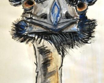 Pet portrait - Portrait ostrich - acrylic painting - watercolor - charcoal - Animal art