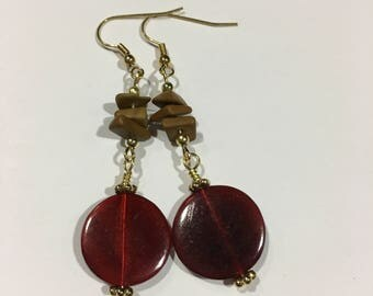 Dazzling Ruby Red Jasper Dangled Earrings