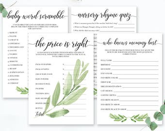 Instant Download Baby Shower Games Watercolor Leaves Baby Shower Printable Game Pack Set of 4 Baby Shower Bundle Baby Shower Game Rustic GL1