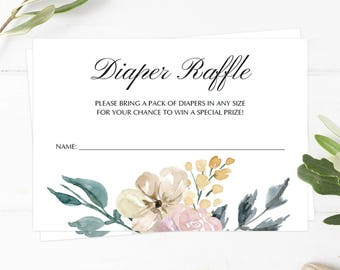 Floral Diaper Raffle Ticket Floral Baby Shower Activities Flower Diaper Raffle Cards Watercolor Diaper Raffle Printable Raffle Ticket WF1