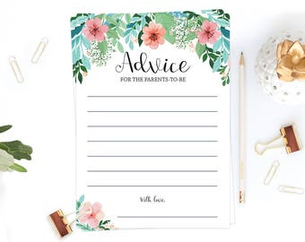 Advice for Parents to Be Floral Baby Shower Printable Advice Cards Instant Download Advice for the New Parents Advice Cards for Baby DIY FG1