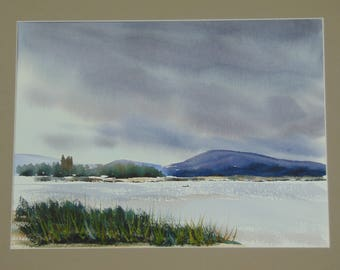 Lakeside Evening original hand-painted watercolor painting