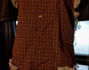 Men's Shirt Apron, Up-cycled, Re-purposed, Refashioned Men's Shirt, eco friendly apron. Womans Upcycled Shirt Apronn .