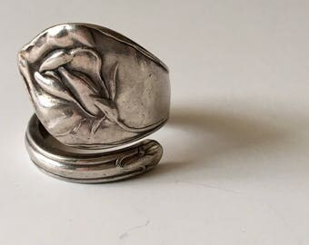 1890's Cala Lily Silverware Handle Ring