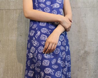 Blue Graphic Maxi Dress