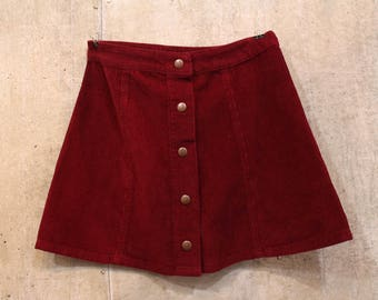 Burgundy Corduroy Button Up Skirt