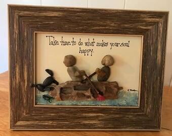 Take Time rock art, Fishing pebble art, Animal Lover Gift, Boating Gift