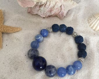 Ocean Blues - Essential Oils Diffuser Bracelet