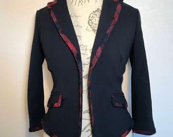 Vintage Navy Cinched Waist Blazer 90s Oxford Style Pinup Blazer