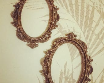 Baroque Oval Frames Italian Brass set of two frames boudoir baroque frames antique patina frames old gold frames