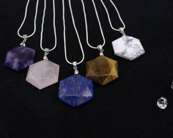 Hexagonal Gemstone Necklace Pendant Amethyst  Rose Quartz Lapis lazuli Tiger's Eye Howlite Natural Gemstone Pendants
