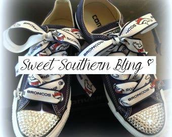 Denver Broncos Bling Converse Shoes
