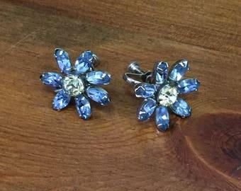 Light Blue and Light Yellow Rhinestone Screw Back Flower Earrings