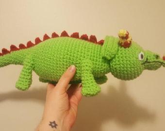 Liz the lizard inspired toy ~ magic school bus inspired toy~ retro plush toy~ handmade crochet gift