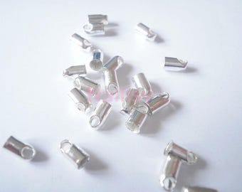 Set of 50 end caps with silver cord 7mm REF208