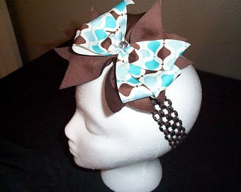 Brown and Turquoise Blue Hair Bow on Brown Headband with rhinestone in center