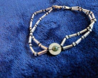 Jade stone, double stranded bracelet