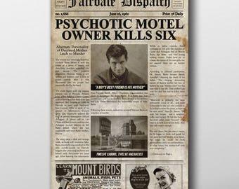 Psycho Inspired Mock Newspaper Art Print