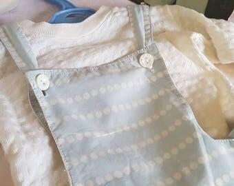 Vintage baby boy blue and white 1950s romper//shorts set