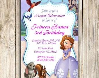 Sofía la primera invitación, invitación de la Princesa Sofia, princesa cumpleaños invitación, Sofía el primer cumpleaños, fiesta de Sofia la primera