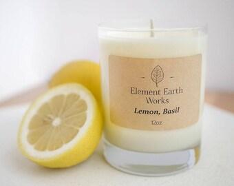 Lemon + Basil Soy Wax Candle
