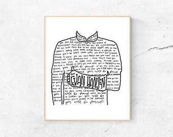 Dear Evan Hansen Musical Silhouette Print | Hand-Lettered | Black and White | Digital Download
