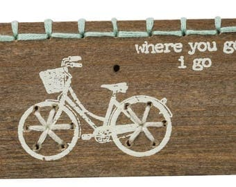 I Go Stitched Wood Block/Magnet