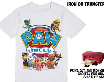 DIGITAL File - Paw Patrol Iron On Transfer , Paw Patrol DIY Birthday Shirt , Uncle DIY Shirt Paw Patrol Iron On Transfer , Iron On Transfer