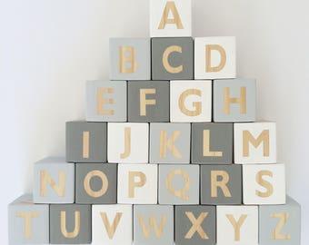 Grey Wooden Alphabet Block Set