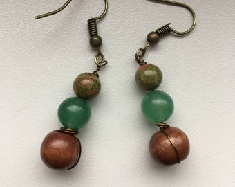 Unakite beaded earrings