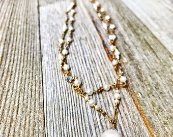 Gold Filled Pearl and Crystal Necklace