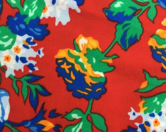Retro Red Floral Blue Roses Sewing Fabric, Nylon Polyester, Vintage Dress Material, 2M X 115cm, 80s Fabric Bag Making Craft Supplies