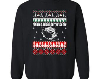 Fishing Through The Snow Ugly Christmas sweater Crewneck Pullover Sweatshirt 8 oz