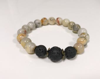 Essential oil diffuser bracelet with crazy lace agate.