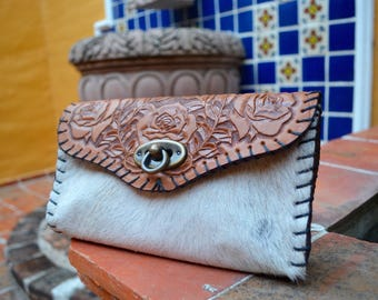 Leather and cowhide clutch / cross body